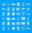electric heater device icons set simple style vector image vector image