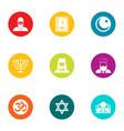 faith icons set flat style vector image