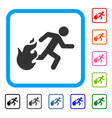 fired running man framed icon vector image vector image