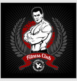 fitness club logo with exercising athletic man on vector image