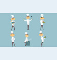 funny male chef cartoon characters set cheerful vector image vector image