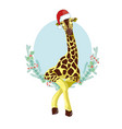 giraffe head with santa claus hat graphic vector image vector image