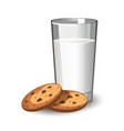 glass of milk and cookies vector image