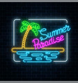 glowing neon summer paradise sign with palm beach vector image vector image