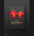 greeting card black color red bow ribbon christmas vector image