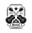 guitar emblem logo vector image