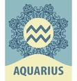 Hand-drawn zodiac Aquarius with ethnic floral vector image vector image
