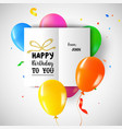 happy birthday party balloon greeting card vector image vector image