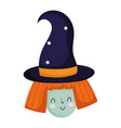 happy halloween witch with hat cartoon trick vector image vector image