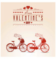 happy valentines day card vintage with cycle vector image