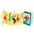 happy women jumping and dancing megaphone vector image vector image