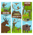 hunting club banners of hunter and animals vector image