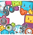 Kawaii gadgets social network background Doodles vector image vector image