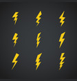 lightning icons set symbols set on dark vector image
