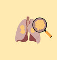 lung cancer with cancer cell on the lung and vector image vector image