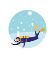 man practicing diving avatar character vector image