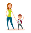 mother leads small son to school or to classes vector image