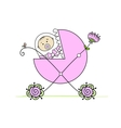 Newborn in babys buggy for your design vector | Price: 1 Credit (USD $1)