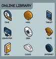 online library outline color isometric icons vector image vector image