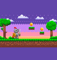 pixel-game knight brave character pixelated vector image vector image