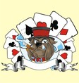 playing card and bulldog vector image vector image