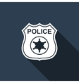 Police badges icon with long shadow vector image vector image