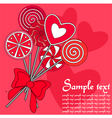 Red lollipops background vector image vector image