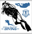 set scuba diver silhouette and diving labels vector image