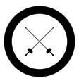 swords for fencing icon black color simple image vector image vector image