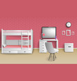 teen girl room realistic vector image
