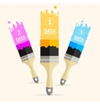 three colorful brushes option banner vector image vector image