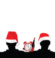 two man silhouette with red hat and clock vector image vector image