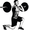 weightlift workout at the gym with barbell vector image vector image