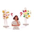 woman choosing between healthy and unhealthy foods