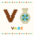 alphabet for children letter v and a vase vector image