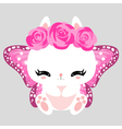 Little cute white bunny with pink roses and vector image
