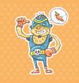 cartoon mexican wrestler vector image