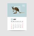2017 July calendar Kangaroo polygon vector image vector image