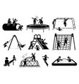 active children playing at playground stick vector image