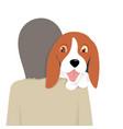adorable beagle dog nestle on its owner shoulder vector image