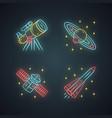 astronomy neon light icons set space exploration