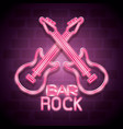 bar rock music neon label vector image