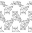 big-eared owl a seamless pattern in the handdrawn vector image vector image