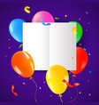 birthday party balloons with card template vector image