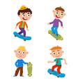 boys on skateboard in vector image