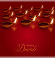 burning diya lamps placed on red background for vector image vector image