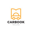 car and open book logo combination vehicle and vector image vector image