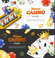 casino banner horizontal set with realistic vector image vector image
