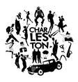 charleston dance icons cars flapper girls vector image vector image