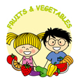 Child with fruit and vegetables vector image vector image